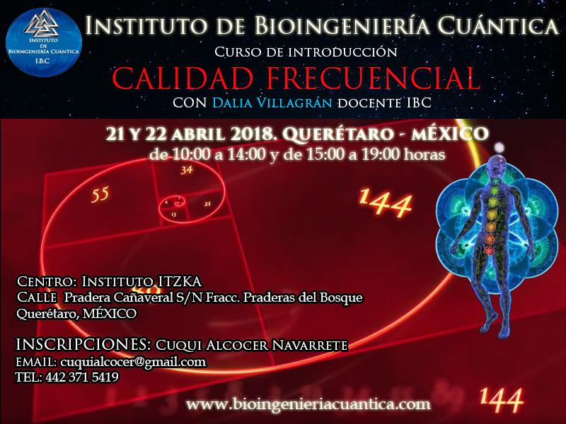 Curso de Introducción a la Bioingeniería Cuántica con Dalia Villagrán  21 y 22 abril 2018. Querétaro, MÉXICO @ Instituto ITZKA