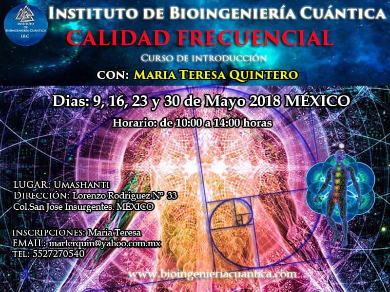 Curso de Introducción a la Bioingeniería Cuántica con Mª Teresa 9, 16, 23 y 30 may 2018. MÉXICO @ UMASHANTI