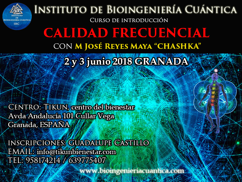 Curso de Introducción a la Bioingeniería Cuántica  con Mª José Reyes 2 y 3 de junio 2018. Granada, ESPAÑA @ TIKUN Centro del Bienestar